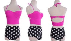Retro Womens High Waist Polka Dot Bottoms W/Pink Push Up Top Bikini Sz M New #Unbranded #HighWaisted2PieceBikini