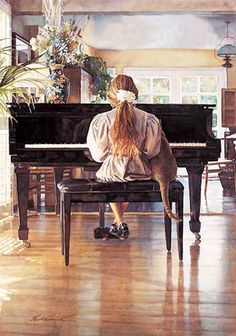 Steve Hanks is recognized as one of the most talented watercolor artists working today. The detail, color and realism of Steve Hanks' paint. Watercolor Artists, Watercolor Paintings, Watercolors, Art Paintings, Piano Art, Piano Music, Photomontage, American Artists, Artist At Work