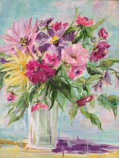 Spring Flowers in Vase - mixed-media painting by Susan Pepe