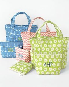 Gift Idea: Preppy Canvas Totes with monogram stuffed with tried and true beach gear (linen towel, horsehair brush, spray sunscreen, wide tooth comb, a great book or magazine and big bottle of water!) from Garnet Hill. Especially love the anchors & chevron!