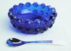 Cobalt Blue Glass Lacy Daisy Salt DIP with Spoon   eBay