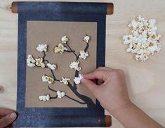 누리놀이 만들기 메뉴가 오픈했어요 팝콘 벚꽃 미니 족자 만들기 먹지마세요 #누리놀이 #도안 #만들기 #유아교사 #미술 #무료도안 #팝콘 #벚꽃
