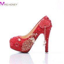 7c39ed10a Pérola Vestido de Noiva Sapatos de Salto Stiletto casamento Sapatos  Vermelhos com Phoenix Cinderella Sapatos Da Dama de honra Prom Party Bombas  Plus Size - ...