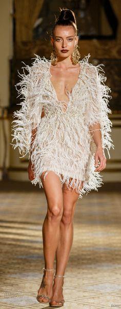 d4d6aaedb206c berta spring 2018 bridal half sleeves deep plunging v neck full  embellishment feathers mini skirt short