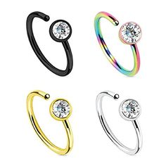 BodyJ4You Nose Hoop Ring Stainless Steel with Crystal 20G (0.8mm) - 4 Pieces