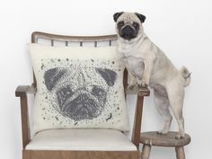 Handmade knitting portrait pillow by Camelotia Studio available on Etsy