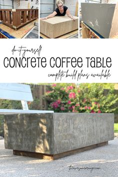 DIY Concrete Coffee Table. Complete build plans available including how to seal the concrete for the outdoors using Thompson's WaterSeal! #diy #concretecoffeetable #sealingconcrete Concrete Projects, Diy Concrete, Roofing Nails, Diy Furniture Plans, Outdoor Furniture, Concrete Coffee Table, Wood Screws, Modern Interior Design