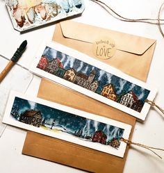 Watercolor bookmarks Winter village ❄️
