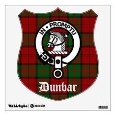 Dunbar Crest Wall Decal: Clan Dunbar crest badge on  tartan background