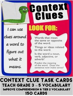 150 CONTEXT CLUE TASK CARDS TEACH comprehension skills & vocabulary - Use for reading strategy centers or bell ringers - Use for daily reading or vocabulary test prep - Fulfills common core standards - Perfect for differentiated materials Vocabulary Activities, Reading Activities, Teaching Reading, Teaching Vocabulary, Guided Reading, Teaching Ideas, Learning, Reading Strategies, Reading Skills