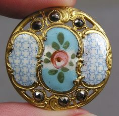 Enamel Brass Floral Button Calico Rose Metal | eBay