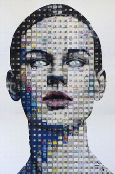 Larger-Than-Life Paintings Created Out of Floppy Disks - DesignTAXI.com
