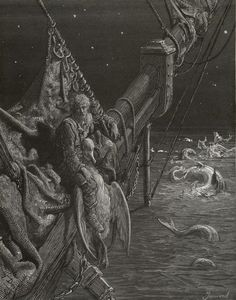 Beyond the shadow of the ship, I watched the water-snakes - from The Rime of the Ancient Mariner - by Paul Gustave Dore - Plate 20 (Jonnard, engraver)