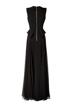 ELIE SAAB Silk Gown with Peplum Waist in Black