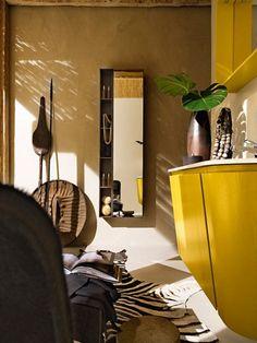Camera de baie galbena, cu forme inspirate 3