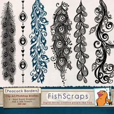 A photographers resource! Peacock Flourish Borders - Clip Art & Photoshop Brushes - Peacock Flourish Borders - Decorative Borders - ClipArt collection - contains 6 - large 14 inch borders and also 8 inch borders have been hand drawn in illustrator. Doodle Patterns, Zentangle Patterns, Zen Doodle, Doodle Art, Flourish Border, Peacock Art, Peacock Feathers Drawing, Feather Drawing, Decorative Borders