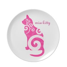 Swirly Cat Pink Custom Name Party Plate