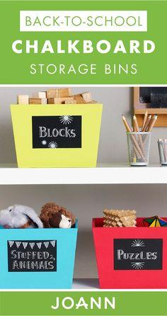 a9990e1eba814 Idea Market Back to School Chalkboard Storage Bins