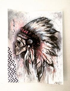 Indian skull painting watered down acrylic and pen