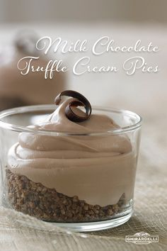 Ghirardelli Milk Chocolate Truffle Cream Pie | Silky, rich milk chocolate truffle cream is layered on top of ground-up pecans in this simple to make deconstructed pie.