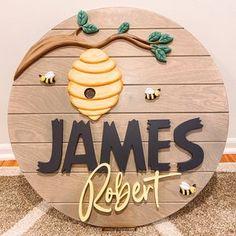 Nursery Wood Sign, Nursery Decor Boy, Nursery Letters, Nursery Name, Nursery Signs, Nursery Room, Girl Nursery, Nursery Ideas, Winnie The Pooh Honey