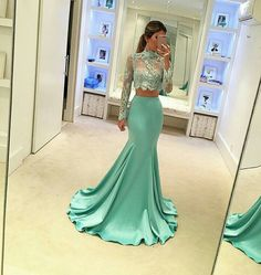 Lace Evening Dresses Two Pieces Prom Dresses Long Prom Dresses Green Evening Dresses Prom Dresses Mermaid Prom Dresses Long Mermaid Gown Prom, Mermaid Evening Dresses, Lace Mermaid, Mermaid Skirt, Long Sleeve Evening Dresses, Evening Gowns, Evening Party, Robes Glamour, 2 Piece Prom Dress
