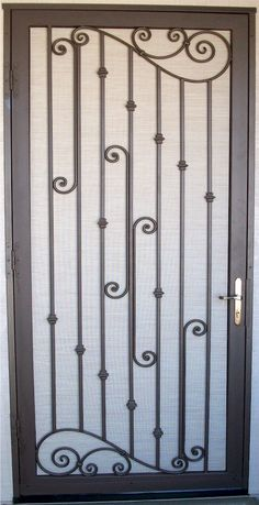 Design your door and find a local metal fabricator to weld it for you! Grill Gate Design, House Gate Design, Window Grill Design, Door Gate Design, Main Door Design, Wrought Iron Security Doors, Wrought Iron Doors, Steel Security Doors, Door Grill