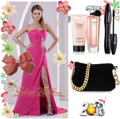 """""""High Slit Hot Pink Sweetheart Stylish Prom Celebrity Dress Appliques and Ruch"""" by fancydressesforyou ❤ liked on Polyvore"""