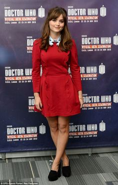 Pretty: Jenna-Louise Coleman looked classy and chic standing out in red at the Doctor Who photo call for the Official 50th celebration