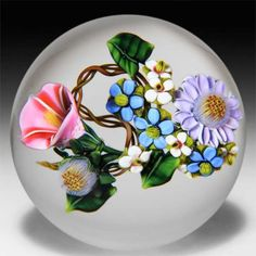 Ken Rosenfeld 2013 aster and morning glory bouquet glass paperweight. by Ken Rosenfeld
