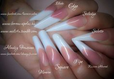 Nail Shapes - My Cool Nail Designs Edgy Nails, Us Nails, Bling Nails, Stiletto Nails, Square Oval Nails, Round Nails, Flare Nails, Nagel Bling, Nail Forms