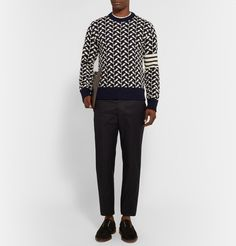 Thom Browne Slim-Fit Whale-Jacquard Wool-Blend Sweater