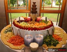 chocolate fountains, wedding catering, event themes, food decorations, wedding appetizers, cater idea, fruit displays, chocol fountain, parti