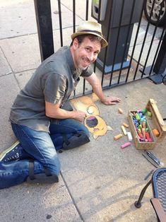David Zill: artist;  street chalk drawings: Ann Arbor, Michigan.