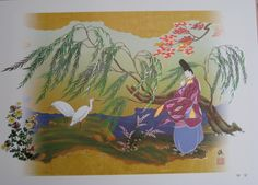 The Tale of Genji.  A man dressed in heian robes.