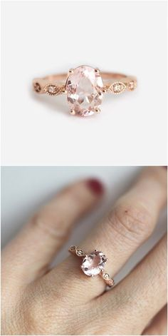 Rose Gold Morganite Ring / http://www.deerpearlflowers.com/sapphire-engagement-rings/