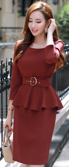 StyleOnme_Squared Neckline Peplum Belted Dress #dress #falltrend #koreanfashion #kstyle #kfashion #feminine #datelook