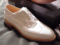New Handmade Men's Oxford White Leather With Brogue Toe Dress Formal Shoes - Dress/Formal