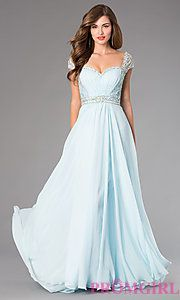Buy Floor Length Cap Sleeve Dress by Dave and Johnny at PromGirl