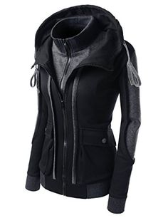 Nearkin (NKWLCJ11) Double Zip-Up Daily Look Attractive Unisex Hood Jacket BLACK Large(Tag size 2XL) * Click image for more details.