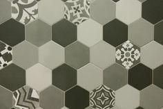 Patchwork-Bodenfliesen Hexagon-Fliese Zementfliesen Boden-Fliesen grau  | eBay