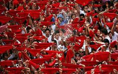 Spain's San Fermin festival in Pamplona kicks off, featuring its famous 'Running of the bulls'. Last year 20,500 people took part in the festival's eight bull runs, nearly half of them coming from abroad, mostly the United States, Australia and Britain. Pamplona officials expect about half a million people will flock to the city of 200,000 residents during the festival, which dates back to medieval times.