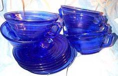 Moderntone depression glass in cobalt blue.