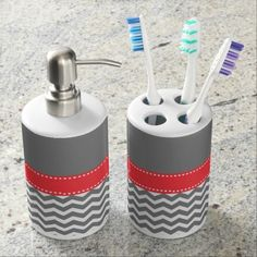 Gray and Coral Chevron Monogram Bath Set