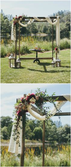 Wooden wedding arbor, draped white fabric, white and red florals, romantic outdoor wedding ceremony, lanterns // Kelly Boitano Photography