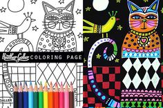 Folk art cat coloring, coloring book, adult coloring book, coloring pages, adult coloring pages, coloring book for adults