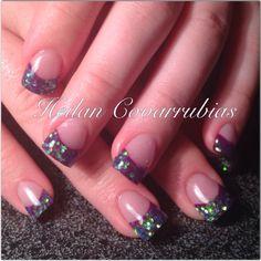 Purple glittery nails ❤️