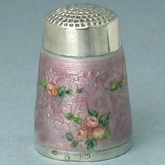 Unusual Antique Lilac Enameled Sterling Silver Thimble w Roses Circa 1900s
