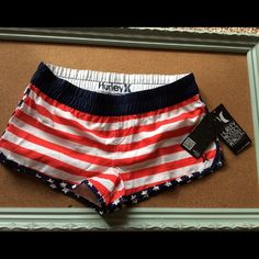 NWT Hurley boardshorts Brand new with tags  Hurley Women's Boardshorts! Red white and blue this are perfect all summer long to go over any swimwear or wear with just a top! Hurley Swim Coverups