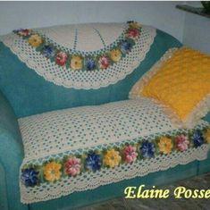 Fotos e Modelos de Capa de Sofá de Crochê Com Flores